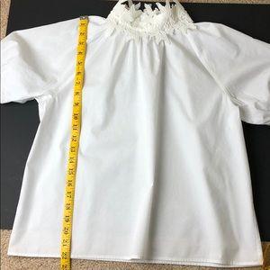 Zara Tops - Zara White Lace Neck short sleeve blouse (large)